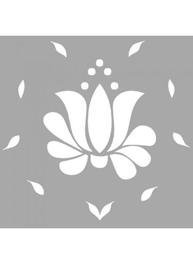 Artikel Serene Çiçek Motif Stencil Tasarımı 30 x 30 cm Renkli